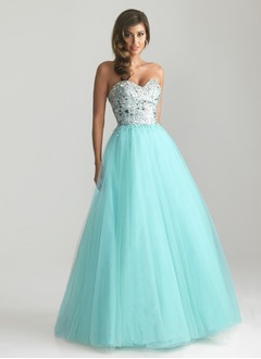 Ball-Gown Strapless Sweetheart Floor-Length Tulle Prom Dress With Beading