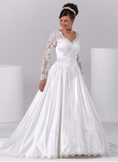 A-Line/Princess V-neck Cathedral Train Charmeuse Wedding Dress With Lace