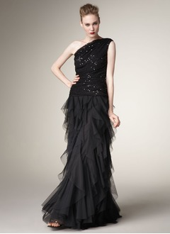 A-Line/Princess One-Shoulder Floor-Length Taffeta Tulle Sequined Prom Dress With Ruffle Cascading Ruffles