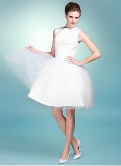 Ball-Gown Scoop Neck Knee-Length Satin Tulle Wedding Dress