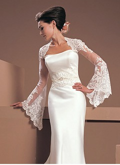 Long Sleeve Lace Tulle Wedding Wrap (0135060293)