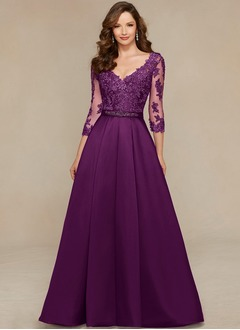 A-Line/Princess V-neck Sweep Train Tulle Mother of the Bride Dress With Beading Appliques Lace