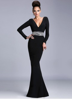 Trumpet/Mermaid V-neck Floor-Length Chiffon Evening Dress With Beading