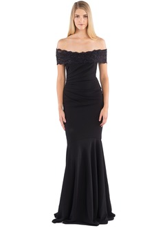 Trumpet/Mermaid Off-the-Shoulder Sweep Train Satin Evening Dress With Ruffle Lace