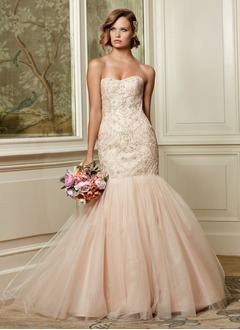 Trumpet/Mermaid Strapless Sweetheart Court Train Satin Tulle Wedding Dress With Beading Sequins