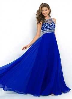 Empire Scoop Neck Sweep Train Chiffon Prom Dress With Beading (0185091950)