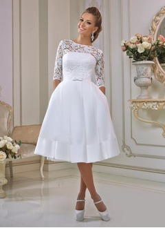 A-Line/Princess Scoop Neck Knee-Length Satin Lace Wedding Dress With Ruffle Bow(s)