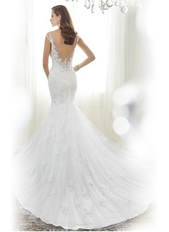 Trumpet/Mermaid Sweetheart Cathedral Train Tulle Lace Wedding Dress With Beading Appliques Lace