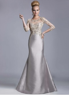 Trumpet/Mermaid Scoop Neck Sweep Train Satin Lace Evening Dress With Sequins