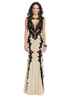 Trumpet/Mermaid Scoop Neck Floor-Length Jersey Prom Dress With Lace