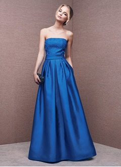 A-Line/Princess Strapless Floor-Length Satin Evening Dress With Lace Appliques Lace