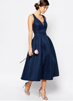 A-Line/Princess V-neck Tea-Length Satin Cocktail Dress With Ruffle