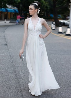 A-Line/Princess V-neck Floor-Length Chiffon Prom Dress With Ruffle Beading Appliques Lace Flower(s) Sequins
