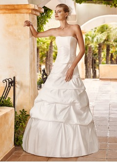 Ball-Gown Strapless Floor-Length Taffeta Wedding Dress With Ruffle Cascading Ruffles