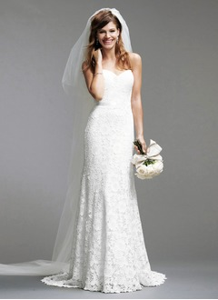 Sheath/Column Strapless Sweetheart Court Train Lace Wedding Dress