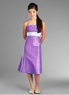 A-Line/Princess Strapless Tea-Length Taffeta Flower Girl Dress With Ruffle Sash