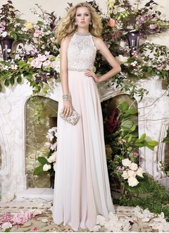 A-Line/Princess Scoop Neck Sweep Train 30D Chiffon Wedding Dress With Beading