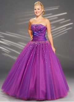 Ball-Gown Strapless Floor-Length Taffeta Tulle Prom Dress With Ruffle Beading
