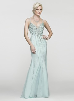 A-Line/Princess Sweetheart Floor-Length Chiffon Evening Dress With Beading