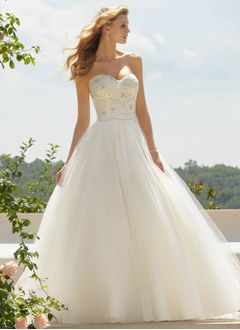 Ball-Gown Strapless Sweetheart Floor-Length Tulle Wedding Dress With Lace Beading