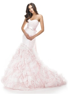 Trumpet/Mermaid Strapless Sweetheart Cathedral Train Organza Wedding Dress With Ruffle Sash