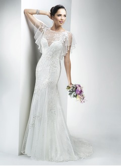 Trumpet/Mermaid Scoop Neck Sweep Train Tulle Wedding Dress With Beading Appliques Lace Sequins