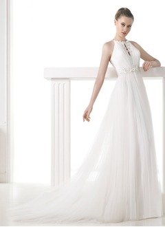 Empire Scoop Neck Court Train Tulle Wedding Dress With Ruffle Beading