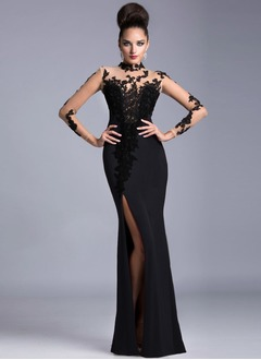 Sheath/Column High Neck Sweep Train Tulle Charmeuse Evening Dress With Appliques Lace Split Front