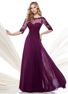 A-Line/Princess Scoop Neck Floor-Length Chiffon Tulle Mother of the Bride Dress With Lace Beading