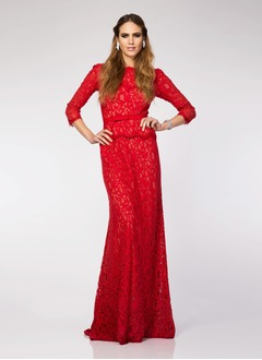 Sheath/Column Scoop Neck Floor-Length Lace Evening Dress