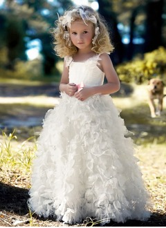 A-Line/Princess Strapless Floor-Length Organza Satin Flower Girl Dress With Ruffle Sash Beading