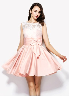 A-Line/Princess Scoop Neck Short/Mini Charmeuse Lace Cocktail Dress With Ruffle Bow(s)