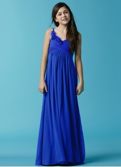 Empire V-neck Floor-Length Chiffon Flower Girl Dress With Ruffle Flower(s)
