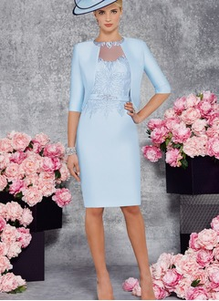 Sheath/Column Scoop Neck Knee-Length Satin Mother of the Bride Dress With Beading Appliques Lace (0085102391)