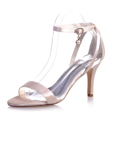 Women's Satin Stiletto Heel Peep Toe Sandals With Buckle  ...