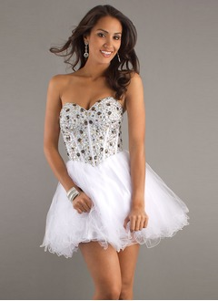 A-Line/Princess Strapless Sweetheart Short/Mini Satin Tulle Prom Dress With Beading Sequins