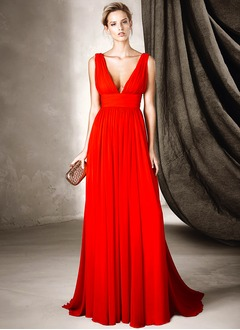 A-Line/Princess V-neck Sweep Train Chiffon Evening Dress With Ruffle (0175119948)