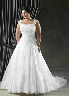 A-Line/Princess Square Neckline Cathedral Train Organza Satin Wedding Dress With Ruffle Lace Beading