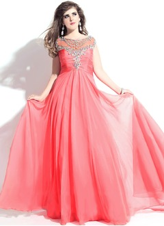 A-Line/Princess Sweetheart Scoop Neck Floor-Length Chiffon Prom Dress With Ruffle Beading