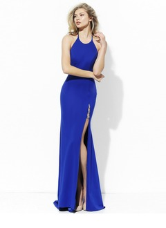 Trumpet/Mermaid Halter Sweep Train Charmeuse Evening Dress With Beading Split Front