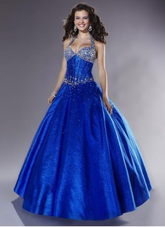 Ball-Gown Halter Floor-Length Charmeuse Prom Dress With Beading Sequins