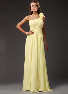 A-Line/Princess One-Shoulder Floor-Length Chiffon Bridesmaid  ...