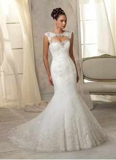 Trumpet/Mermaid Sweetheart Chapel Train Tulle Lace Wedding  ...