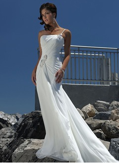 A-Line/Princess One-Shoulder Court Train Chiffon Wedding Dress With Ruffle Beading
