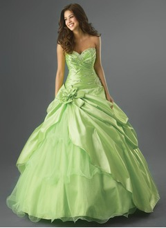 Ball-Gown Strapless Sweetheart Floor-Length Taffeta Organza Quinceanera Dress With Ruffle Beading Flower(s) Cascading Ruffles