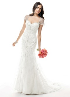 Trumpet/Mermaid Sweetheart Court Train Satin Tulle Wedding Dress With Beading Sequins