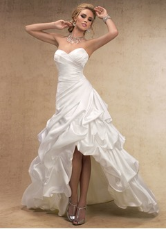 A-Line/Princess Strapless Sweetheart Asymmetrical Taffeta Wedding Dress With Ruffle