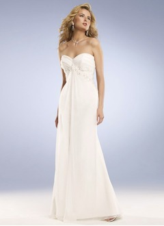 Sheath/Column Strapless Sweetheart Sweep Train Chiffon Wedding Dress With Ruffle Beading