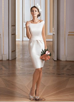 Sheath/Column Off-the-Shoulder Knee-Length Taffeta Wedding Dress With Ruffle (0025098920)