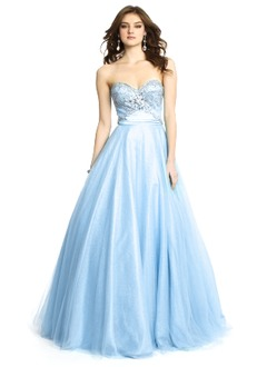 Ball-Gown Strapless Sweetheart Floor-Length Tulle Prom Dress With Ruffle